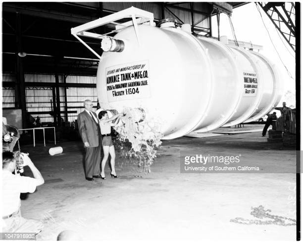 Thermos tank used for testing valves and component parts of fuels used in guided missiles 13 June 1958 Robert S Gardner Everett Yates Bonnie Miller...