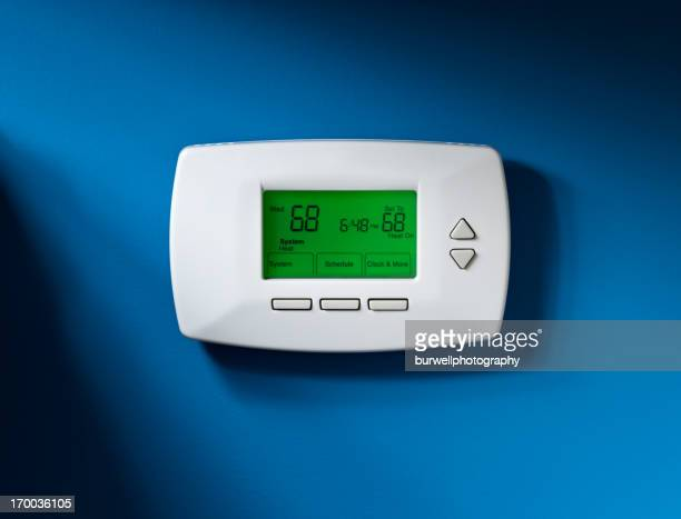 Thermostat, Programmable, Isolated on blue