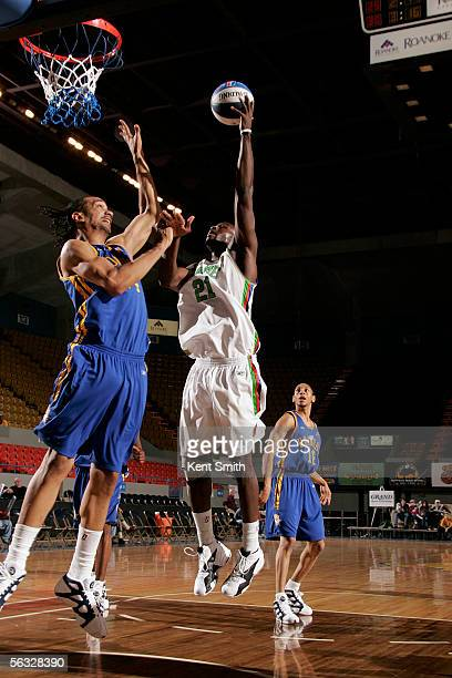 Theron Smith of the Florida Flame shoots against Peter John Ramos of the Roanoke Dazzle December 3 2005 at the Roanoke Civic Center in Roanoke...