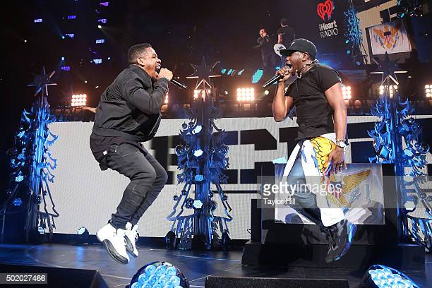 Theron 'Uptown AP' Thomas and Timothy 'A.I.' Thomas of R. City perform during the 2015 99.3 FLZ Jingle Ball at Amalie Arena on December 19, 2015 in...
