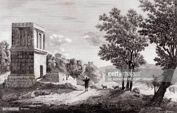 Theron's tomb in Agrigento Sicily Italy copper engraving 29x195 cm from Corografia fisica storica e statistica dell'Italia e delle sue isole by...