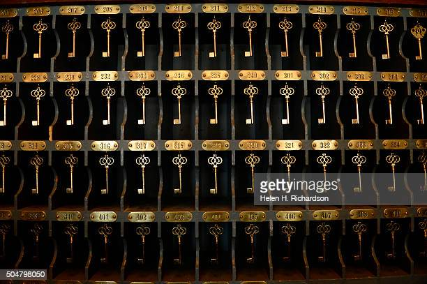 These are keys that were once used in the rooms on display in the Stanley Hotel on January 12 2016 in Estes Park Colorado The Stanley Hotel which...