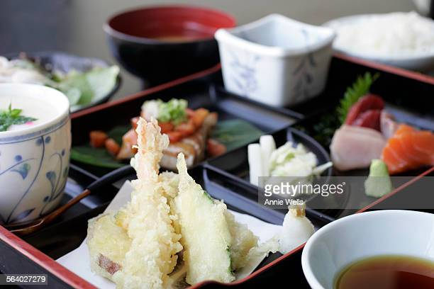These are photos of the $9.50 box lunch special at Izayoi on Central in Japan Town. Itincludes: mixed sashimi, hijiki seaweed, pickled vegetables,...