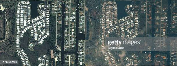These are satellite images of Punta Gorda Flordia before and after a hurricane The after image was collected shortly after the hurricane on August 14...