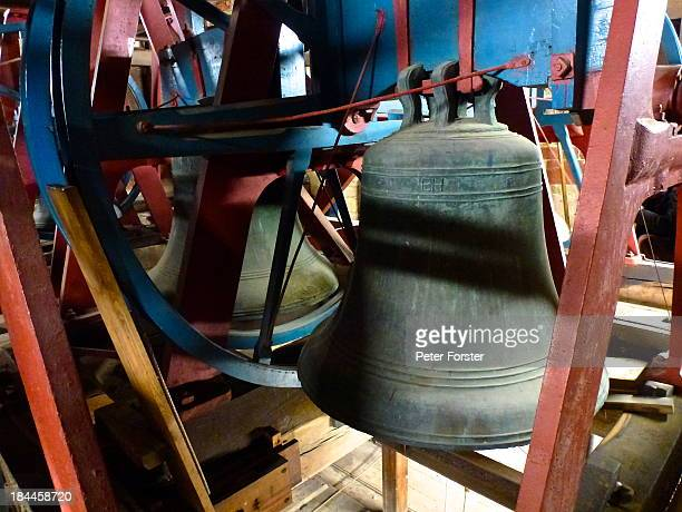 These are some of the bells in the tower of Malvern Priory. Bell ringing practice is on Thursday evenings. If you want to hear the bells then listen...