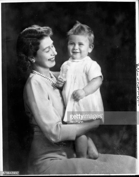 These are the official first birthday photographs of Bonnie Prince Charles of England The baby son of Princess Elizabeth whom he is pictured with and...