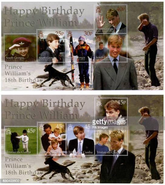 These are two of the sets of stamps that will mark the 18th birthday of Britain's Prince William around the world * The Crown Agents Stamp Bureau in...