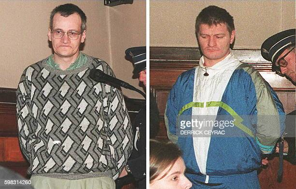 These file pictures dated 01 April 1997 show Francis Heaulme and Didier Gentil on the first day of their trial in Perigueux central France Heaulme...