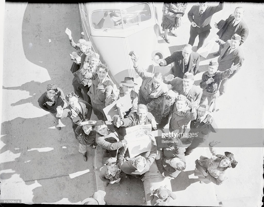 Joyous Group of Picketers Celebrating The News : News Photo