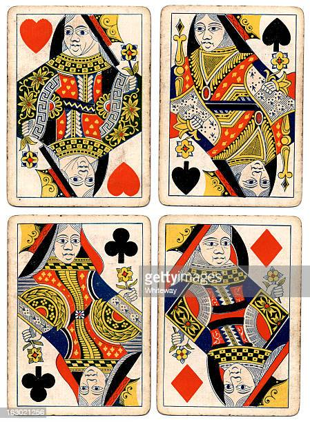 antique playing cards four queens spades hearts diamonds clubs - hearts playing card stock photos and pictures
