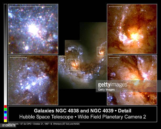 These Four CloseUp Views Are Taken From A HeadOn Collision Between Two Spiral Galaxies Called The Antennae Galaxies Seen At Image Center The Scale...