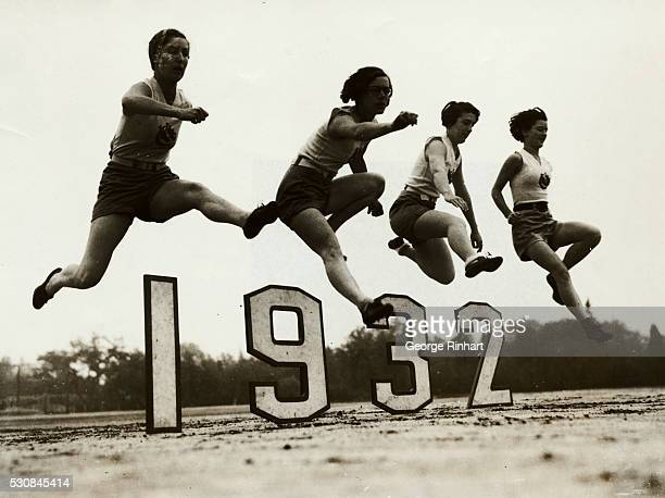 These four fair athletes of the Los Angeles California Athletic Club shown here prove how easy it is to hurdle the 1932 barrier The figures also...