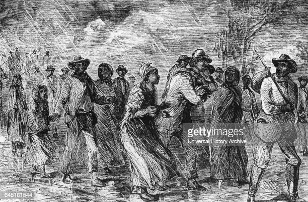 These fugitive slaves are fleeing from Maryland to Delaware by way of the Underground Railroad 1850
