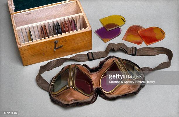 These goggles with replacement glass filters of various colours are for testing colour vision Most colour blindness is inherited and affects more men...