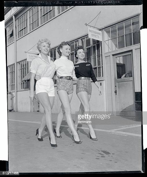 These Hollywood starlets provide telling exhibits to back their case in a minor war about legs Exhibits by Adelle August Lucy Marlow and Jane Mason...