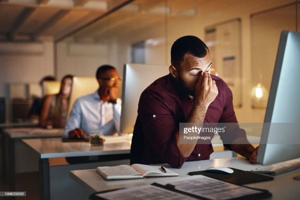 These late nights are not working for me : Stock Photo