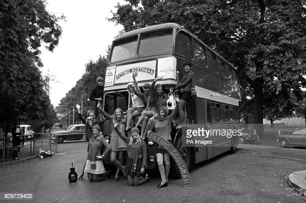 These lucky girls are off to America to sell Flying Scotsman souvenirs from the double decker bus Left to right at Battersea Park front Sandra Young...