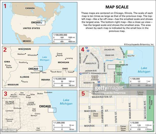 These maps are centered on Chicago Ill The scale of each map is ten times as large as that of the map before it The first maplike a faroff viewhas...