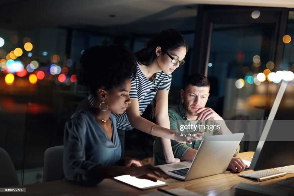 These night owls always work with dedication : Stock Photo