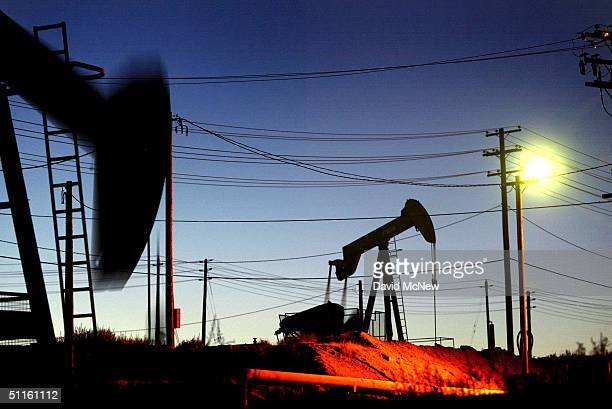 These Oil wells are among the thousands pumping the oil fields of California's southern Central Valley on August 10 2004 in the town of Oildale...