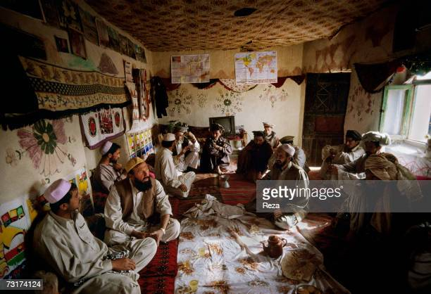 These Pashtuns get together for a tea in a room reserved to the men in the house of Haji Seilulrahman elder and chief of the Waziri tribe in the...
