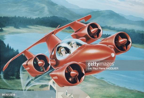 These sketches were used in the conception and promotion of Moller's Skycar M400, a futuristic hybrid of automobile, helicopter, and airplane that is...