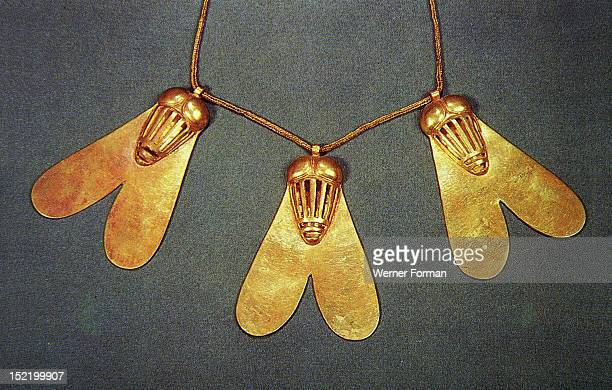These three gold flies were part of an award for valour They were buried with Queen Aahotep at Dra Abu el Naga Egypt Ancient Egyptian New Kingdom...