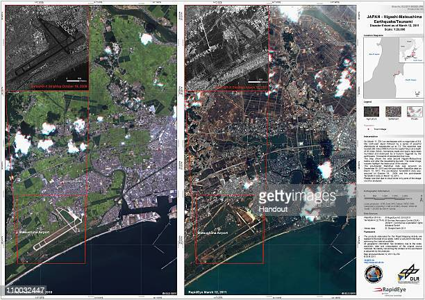 These two handout satellite photographs provided by the Center for Satellite Based Crisis Information of the German Aeropsace Center show the...