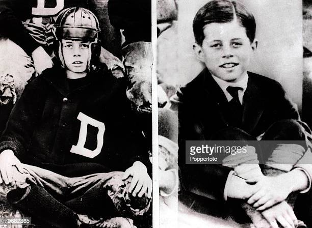 These two pictures show the future President of the United States, John F,Kennedy, during his school years, On the left he is shown at the age of 10...