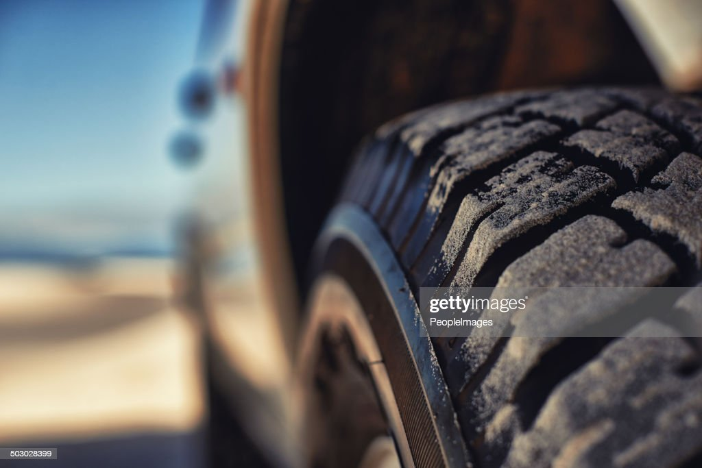 These tyres eat up any terrain : Stock Photo