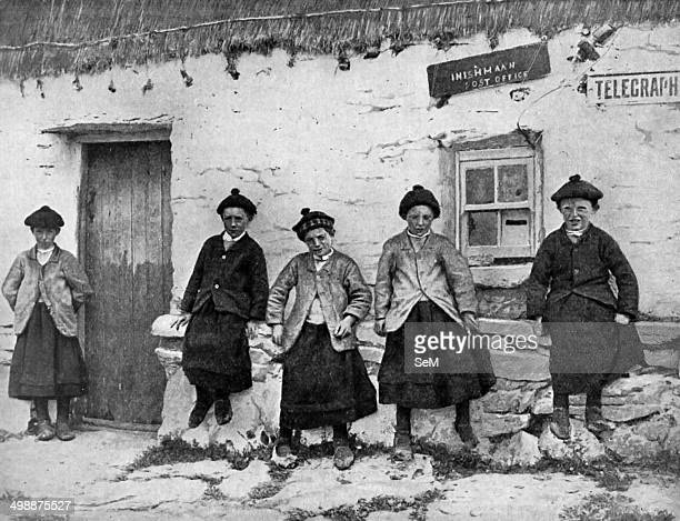 These village lads outside Inishmaan postoffice are wearing petticoats The feminine garment imparts no air of effeminacy to its masculine wearers...