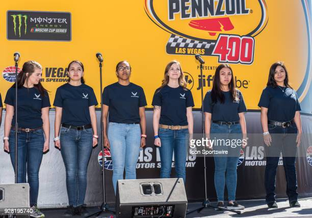 These young women were part of the swearing into military duty in the United States Air Force at the prerace activities of the Monster Energy NASCAR...