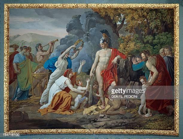 Theseus and the Minotaur mural painting by Giuseppe Cammarano Royal Palace of Caserta Campania Italy 19th century