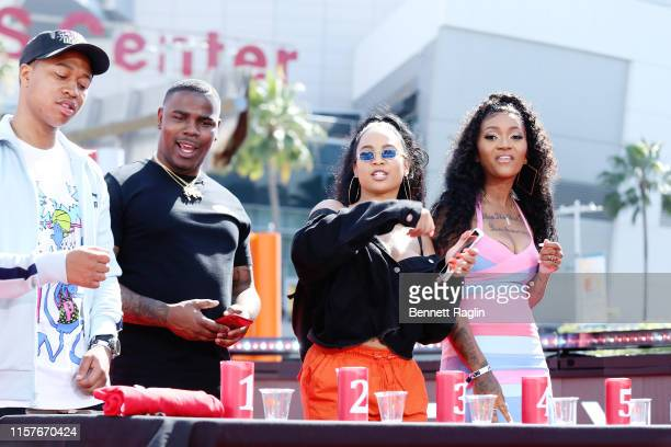 "TheShiggyShow HaHa Davis Aliya Janell and Domo Wilson participate in ""My Type Challenge"" during BET Experience Live Sponsored By CocaCola at LA Live..."