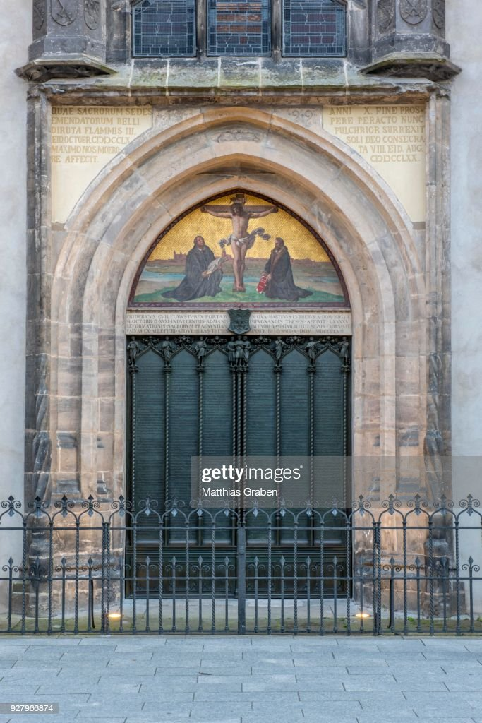 Thesis Door At The Castle Church Luther City Wittenberg Saxony-Anhalt Germany & Luther Wittenberg Door u0026 4K Rights Managed Stock Footage # 193-518-504