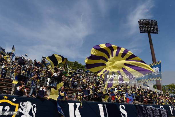 Thespa Kusatsu Gunma supporters cheer prior to the JLeague J2 match between Thespa Kusatsu Gunma and FC Gifu at Shoda Shoyu Stadium on May 3 2017 in...