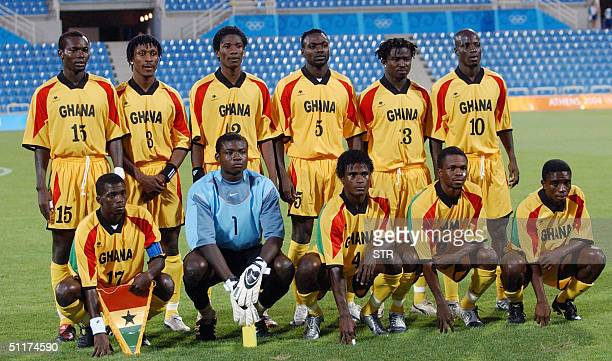 The Ghanaian Olympic football team pose 15 August 2004 before their Olympic Games group B preliminary match against Ghana in Thessaloniki AFP PHOTO...