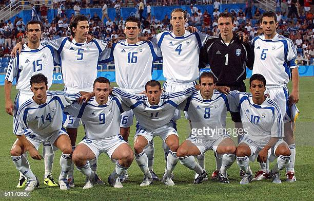 The Greek men's Olympic soccer team poses at Kaftanzoglio Stadium in Thessaloniki northern Greece 14 August 2004 prior to their match against Mali...