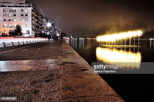 Thessaloniki seaside night view