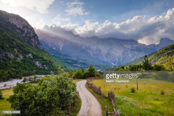 theth, radohima massif, theth national park, albanian alps, prokletije, qark shkodra, albania - albania stock pictures, royalty-free photos & images