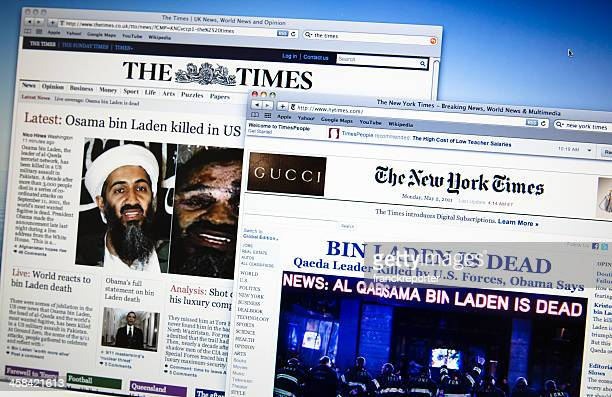 thetimes.co.uk and newyorktimes.com announce the death of  Bin Laden