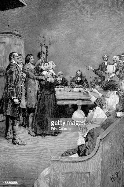 TheTrial of a Witch America Illustration from Mary E Wilkins Giles Corey Yeoman Wood engraving 1892