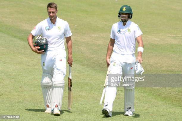Theunis de Bruyn and Aiden Markram of the Proteas during day 4 of the 1st Sunfoil Test match between South Africa and Australia at Sahara Stadium...