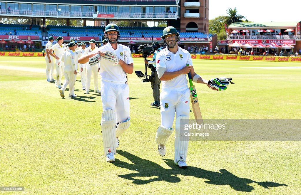 Theunis de Bruyn and Faf du Plessis (capt) of South Africa after day 4 of the 2nd Sunfoil Test match between South Africa and Australia at St Georges Park on March 12, 2018 in Port Elizabeth, South Africa.