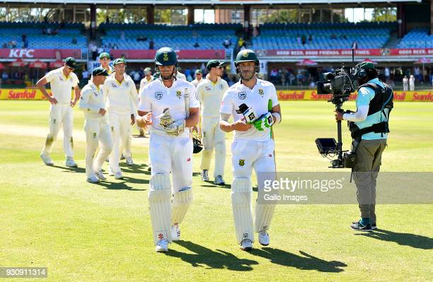 Theunis de Bruyn and Faf du Plessis of South Africa after day 4 of the 2nd Sunfoil Test match between South Africa and Australia at St Georges Park...