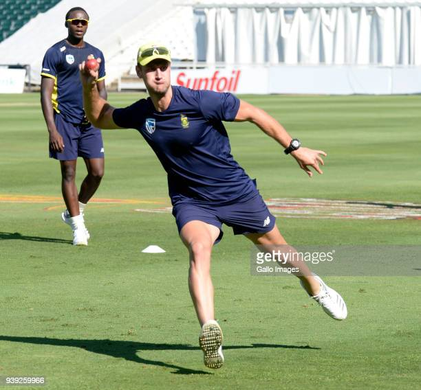 Theunis de Bruyn of the Proteas during the South African national men's cricket team training session at Bidvest Wanderers Stadium on March 28 2018...