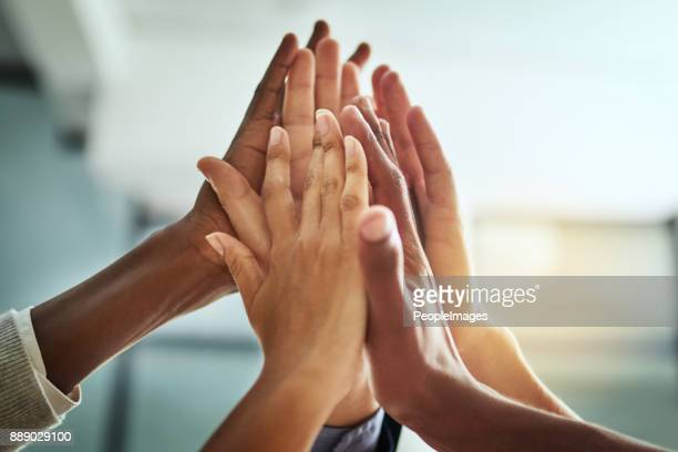 they came to win - high five stock pictures, royalty-free photos & images