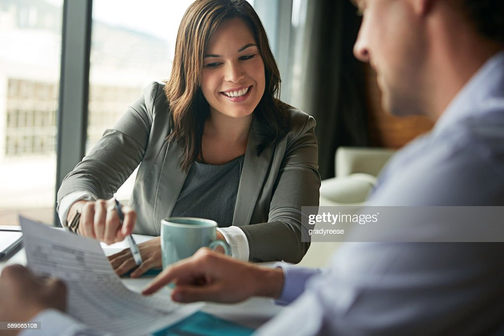 They have a great working relationship : Stock Photo