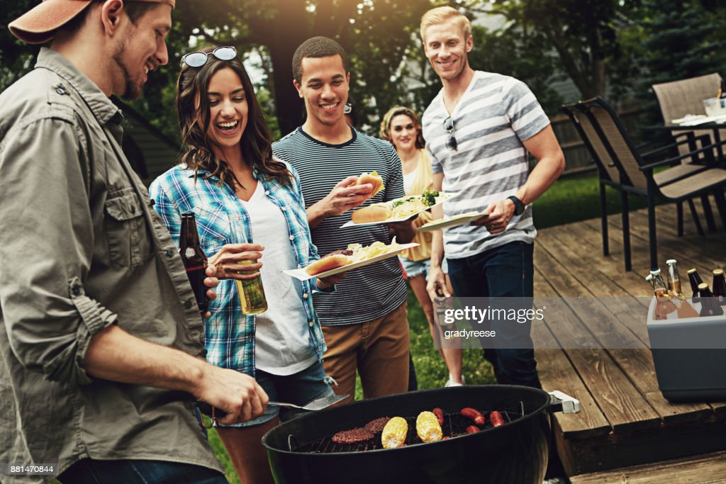 They host the best barbecues : Stock Photo