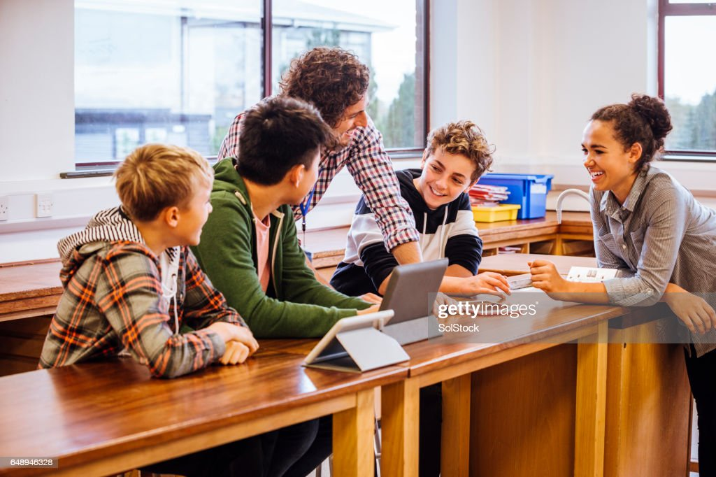 They like their Science Teacher : Stock Photo